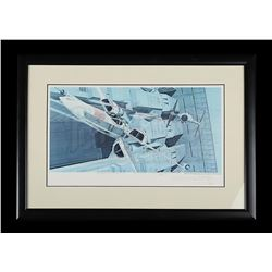 STAR WARS: A NEW HOPE - Ralph Mcquarrie Signed Framed Print (X-Wing & TIE Fighter)