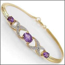 Plated 18KT Yellow Gold 4.25ctw Amethyst and Diamond Bracelet