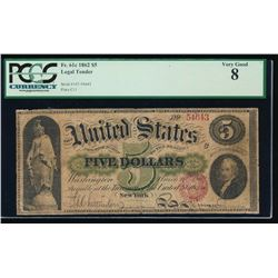 1862 $5 Legal Tender Note PCGS 8