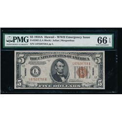 1934A $5 Hawaii Federal Reserve Note PMG 66EPQ