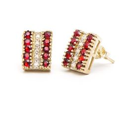 Plated 18KT Yellow Gold 3.37ctw Garnet and Diamond Earrings