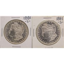Lot of (2) 1881-S $1 Morgan Silver Dollar Coins