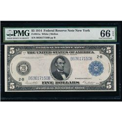 1914 $5 New York Federal Reserve Note PMG 66EPQ