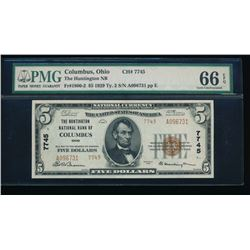 1929 $5 Columbus National Bank Note PMG 66EPQ
