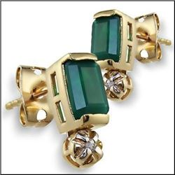 Plated 18KT Yellow Gold 2.82ctw Green Agate and Diamond Earrings