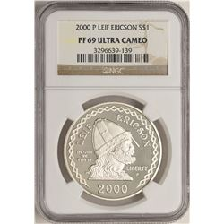 2000-P $1 Proof Leif Ericson Commemorative Silver Coin NGC PF69 Ultra Cameo