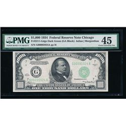 1934 $1000 Chicago Federal Reserve Note PMG 45