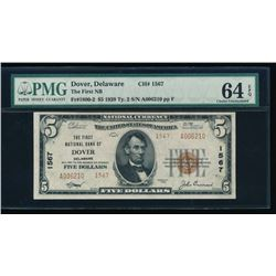 1929 $5 Dover National Bank Note PMG 64EPQ