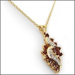 Plated 18KT Yellow Gold 4.49ctw Garnet and Diamond Pendant with Chain