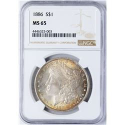 1886 $1 Morgan Silver Dollar Coin NGC MS65 Amazing Toning