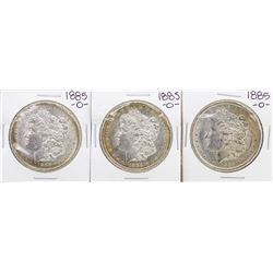 Lot of (3) 1885-O $1 Morgan Silver Dollar Coins