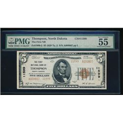1929 $5 Thompson National Bank Note PMG 55EPQ