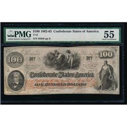 1862-63 $100 Confederate States of America Note PMG 55