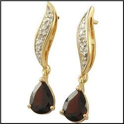 Plated 18KT Yellow Gold 2.86ctw Garnet and Diamond Earrings