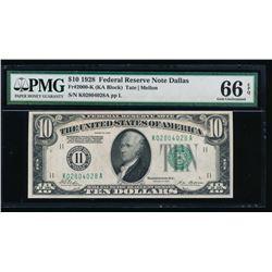 1928 $10 Dallas Federal Reserve Note PMG 66EPQ
