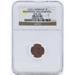 1621 Germany 3F Brunswick-Wolfenbuttel KM-256 Coin NGC MS63BN