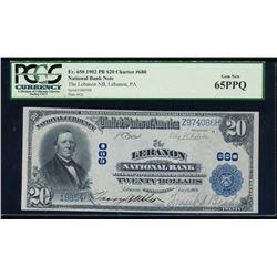 1902 $20 Lebanon National Bank Note PCGS 65PPQ