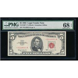 1963 $5 Legal Tender Star Note PMG 68EPQ