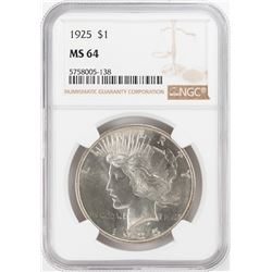 1925 $1 Peace Silver Dollar Coin NGC MS64