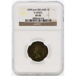 1690 June Ireland 1 Schilling Coin NGC XF45