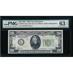 1934 $20 San Francisco Federal Reserve Note PMG 63EPQ