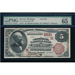 1882 $5 Detroit National Bank Note PMG 65