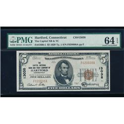 1929 $5 Hartford National Bank Note PMG 64EPQ