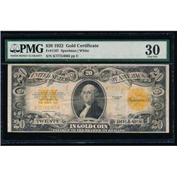 1922 $20 Gold Certificate PMG 30