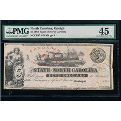 1862 $5 North Carolina Obsolete Note PMG 45