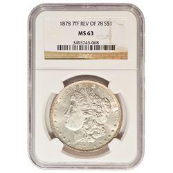 1878 7TF REV 78  $1 Morgan Silver Dollar Coin NGC MS63