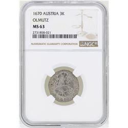 1670 Austria 3 Kreuzer Olmutz Coin NGC MS63