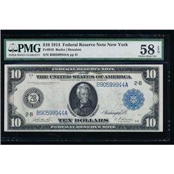 1914 $10 New York Federal Reserve Note PMG 58EPQ