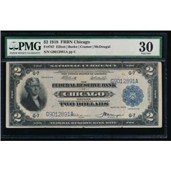 1918 $2 Chicago Federal Reserve Bank Note PMG 30