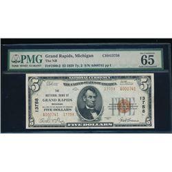 1929 $5 Grand Rapids National Bank Note PMG 65EPQ