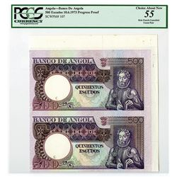 Banco De Angola, 1973 Progress Specimen/Proof Uncut Pair.