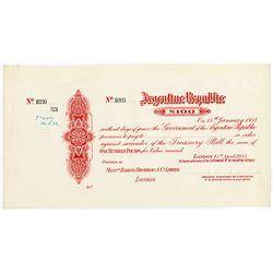 Argentine Republic, 1933 Specimen £100 Treasury Bill.