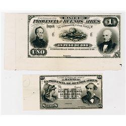 El Banco De La Provincia De Buenos Aires, 1883 Proof Banknote Pair.