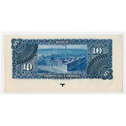 Banco Provincial De Cordoba,1889, 10 Pesos Specimen Proof Banknote Missing Face printing.