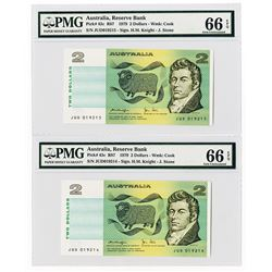 Australia, Reserve Bank, 1979 High Grade Sequential Pair of $2 Banknotes.