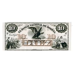 "Banco Nacional De Bolivia, 187x (1873) ""Cobija"" Proof Banknote Used as a Model."