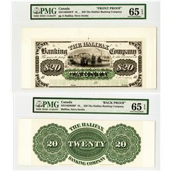 Halifax Banking Co., 18xx, 1850-60s Proof Uniface Front and Back banknotes.