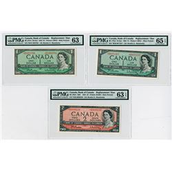 Bank of Canada, 1954 Modified Portrait Replacement * Note Banknote Trio.