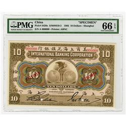 "International Banking Corporation, 1905 Specimen ""Shanghai"" Branch Issue."