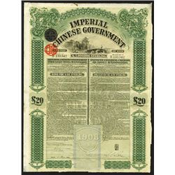Imperial Chinese Government £20 Gold Loan of 1908.