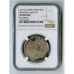 Sinkiang Province, AH1321 (1903), 5 Miscals, XF Details.