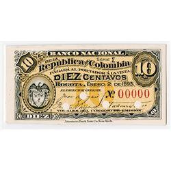 Banco Nacional De La Republica De Colombia, 1893 Proof Banknote.