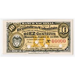 Banco Nacional De La Republica De Colombia, 1893 Proof Banknote.