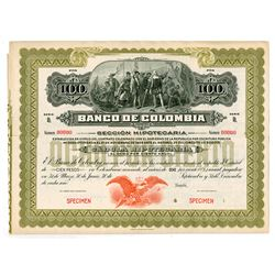 Banco de Colombia, ca.1900-1920 Specimen Circulating Bond