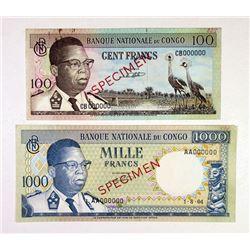 Banque Nationale Du Congo, 1964 Specimen Banknote Pair.