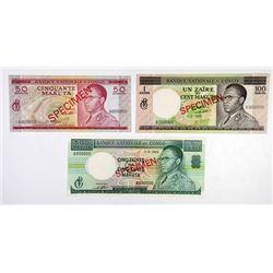 Banque Nationale Du Congo, 1964 Specimen Banknote Trio.